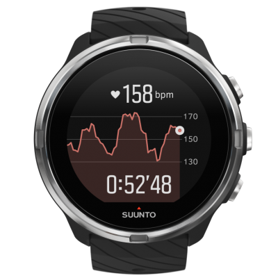 SS050142000 SUUNTO9 G1 BLACK FrontView TR Running basic HRgraph compressed 400x400 - SUUNTO 9 G1  BLACK