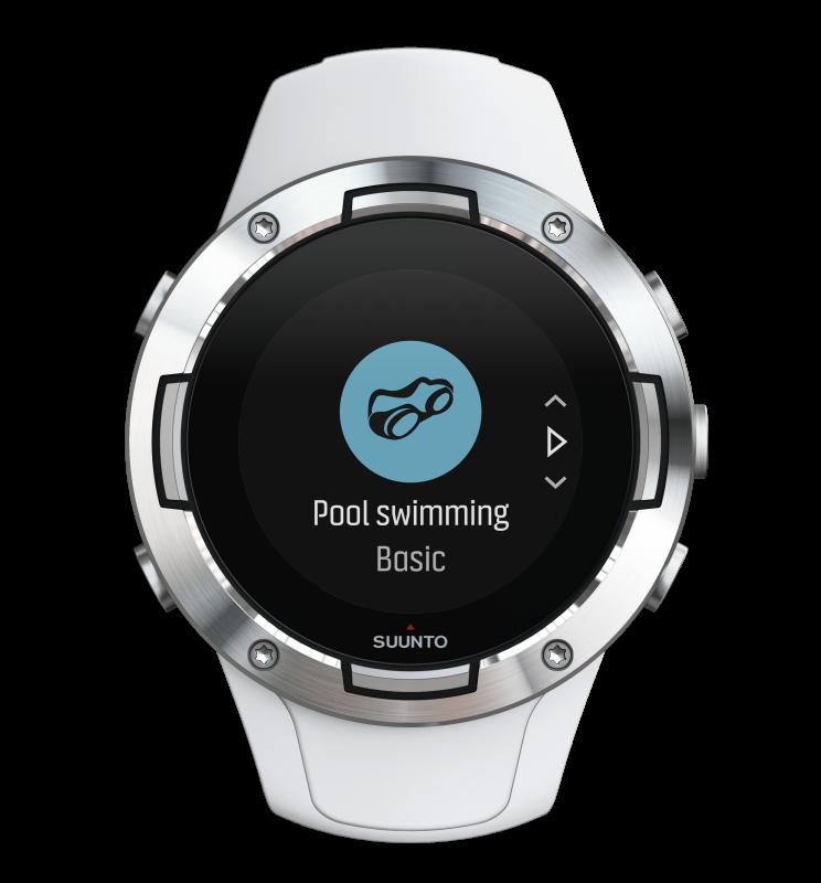 SS050300000 SUUNTO5G1WHITE FrontView choosingswimmingmode compressed 744x800 - SUUNTO 5 G1 WHITE