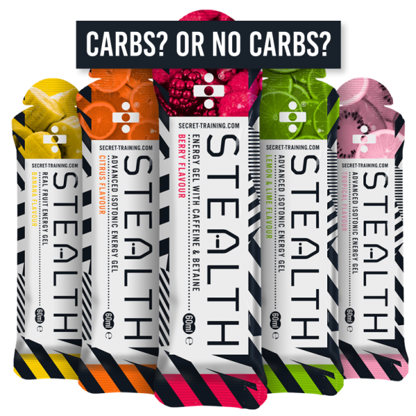 stealth gel selection photo carbs no carbs 600x600 - Carbohydrates vs Fasted Training - Planning Smart